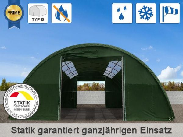Rundbogenhalle Stallzelt 9,15 x 12 x 4 inkl.Lieferung mit Firstfenster