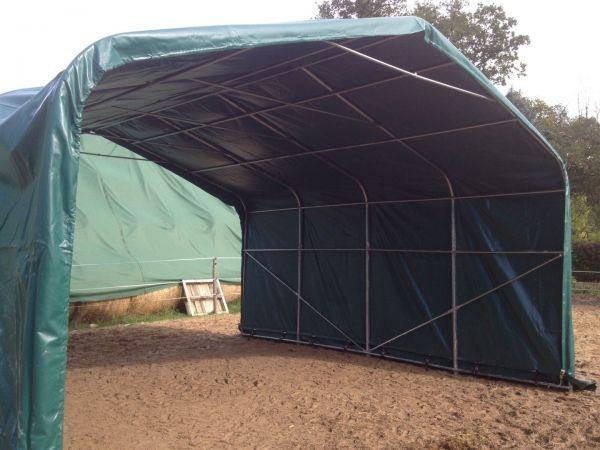 Weidezelt 6 x 6 x 3 mit 550 gramm PVC grün mit Sturmset und Statik